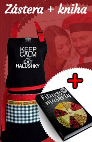 kuchynská zástera a kniha fitness maškrty, zdravé recepty na koláče